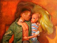 A painting of Barbie and Action Man
