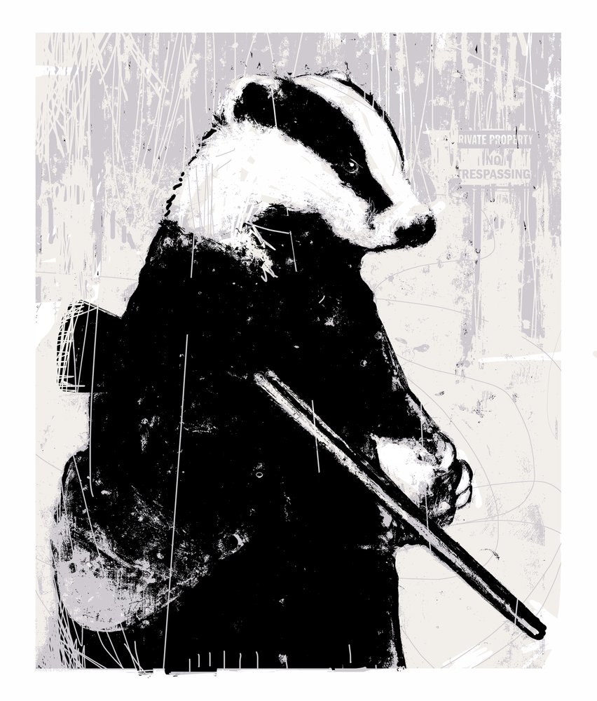 Badger with Shotgun screen print by Harry Bunce.