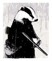 Badger with Shotgun screen print