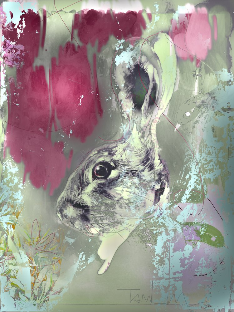 Mixed Media Hare painting with freeze dried rose petals mixed with the paint. by Harry Bunce.