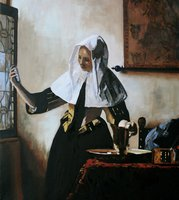 Based on Vermeer's painting entitled Young Woman with a Water Pitcher painted in 1665.