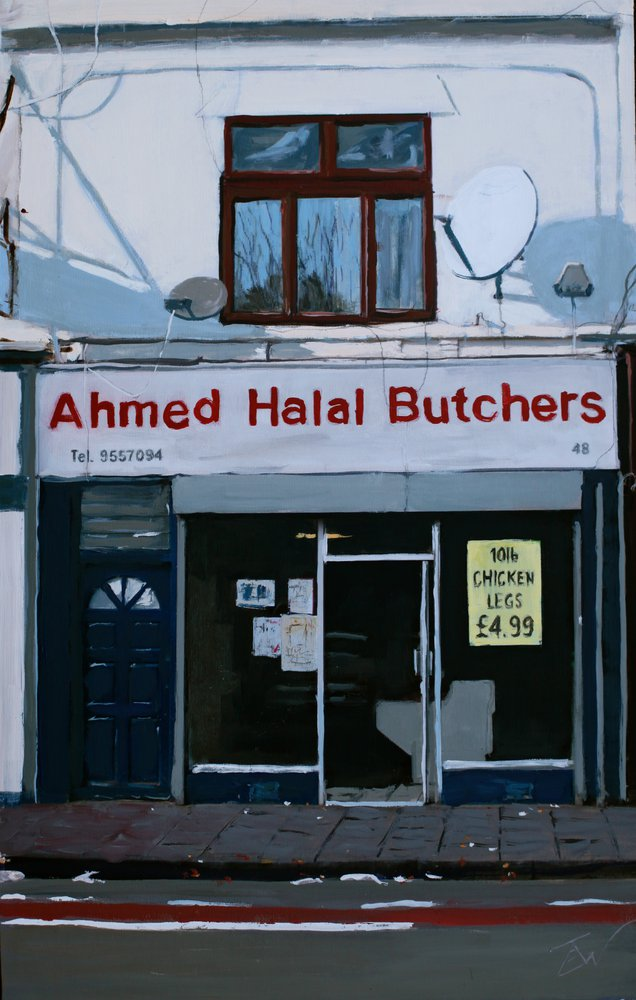 A painting of Ahmed Halal Butchers, Stapleton Road, Easton, Bristol by Tom White.