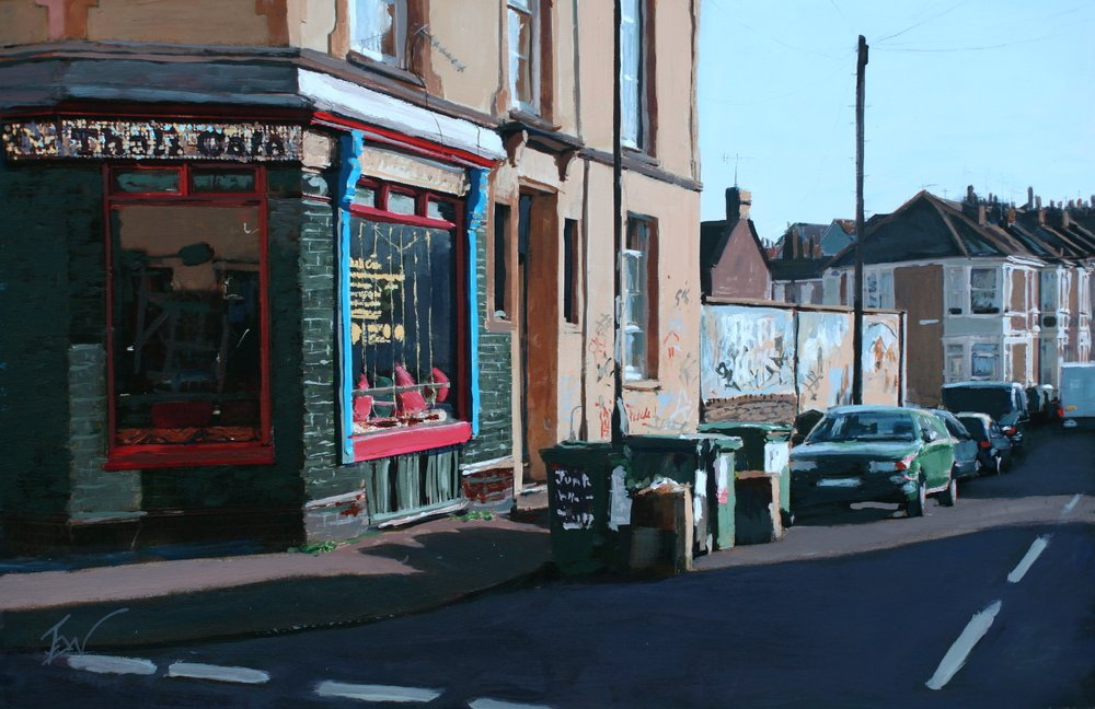 A painting of The One Stop Thali Cafe, Upper Cheltenham Place, Montpelier, Bristol by Tom White.