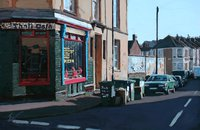 A painting of The One Stop Thali Cafe, Upper Cheltenham Place, Montpelier, Bristol