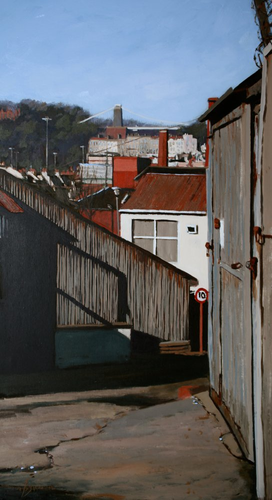 A painting of Clifton Suspension Bridge, from Coronation Road, Bristol by Tom White.