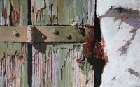 A painting of cracked paint on a wodden door in Venice.