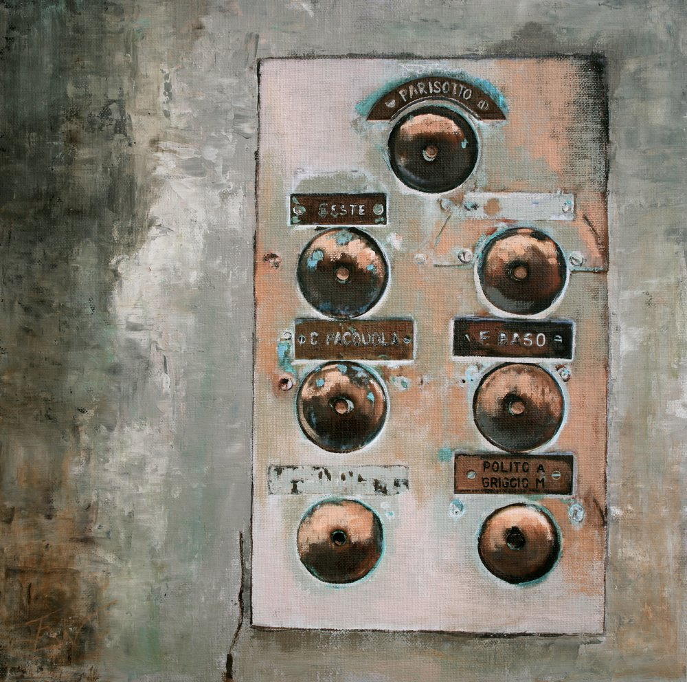 A painting of brass doorbells and name plates in Venice. by Tom White.
