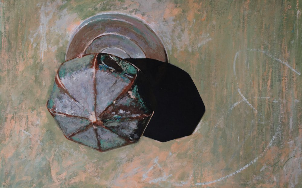 A painting of a brass doorknob in Venice. by Tom White.