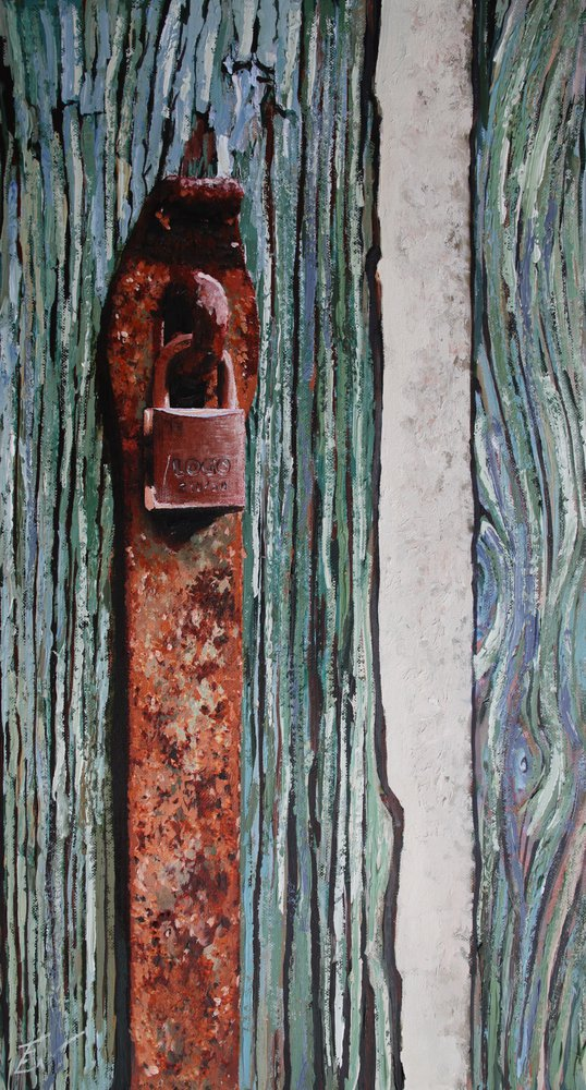 A painting of a padlock and hasp in Venice. by Tom White.