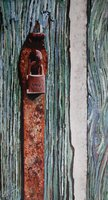A painting of a padlock and hasp in Venice.