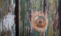 A painting of cracked paint and a keyhole on a door in Venice.