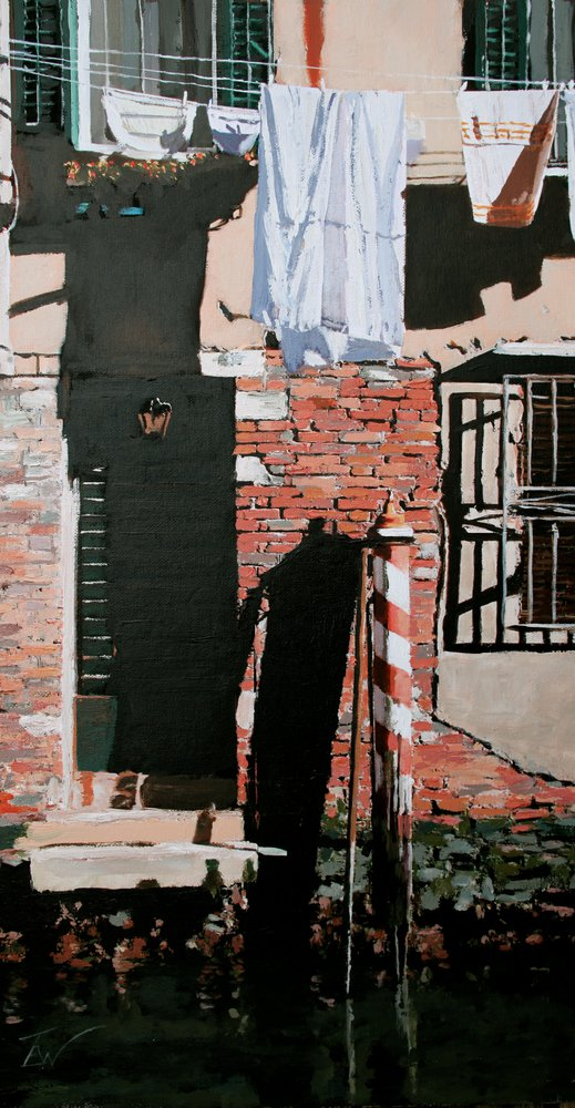 A painting of laundry drying on a line outside a house in Venice. by Tom White.