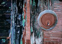 A painting of a Yale lock in a door in Venice.