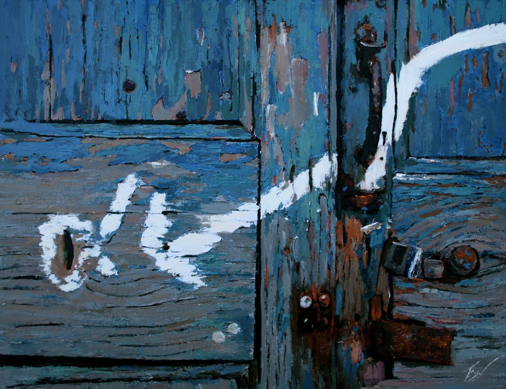 A painting of cracked paint and a coin slot in a door in Venice. by Tom White.