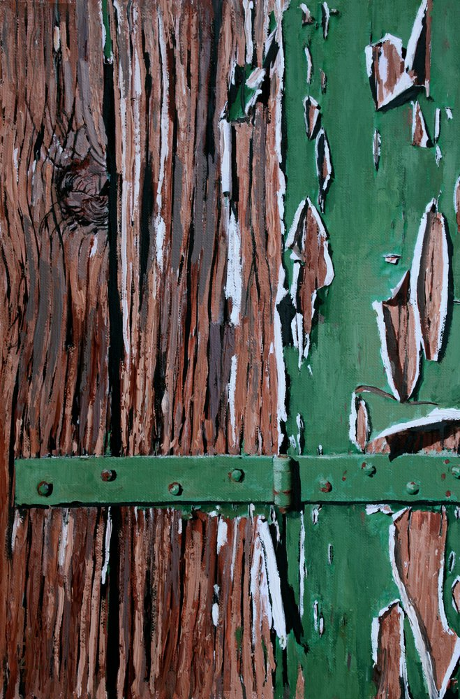 A painting of peeling paint on a wodden door in Venice. by Tom White.