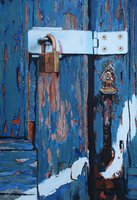 A painting of a new padlock and hasp on an old door in Venice.