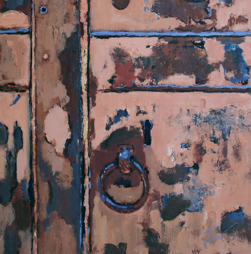 A painting of a keyhole and ring on a door in Venice. by Tom White.